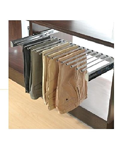Closet Pants Rack Slide Out Organizer with Soft Close, 24'', Steel, Satin Nickel by Cabinet Organizers