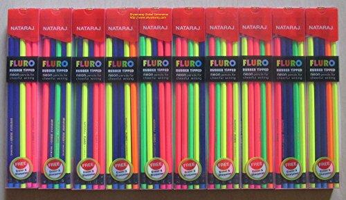 Nataraj FLURO Rubber Tipped Super Dark Neon Pencils pack of ()