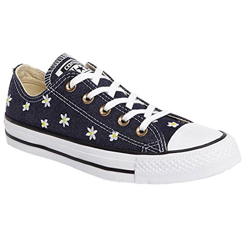 Converse Womens Chuck Taylor All Star Ox Navy Yellow Canvas Trainers 7.5 (Flower Chucks)