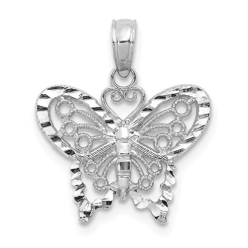 14k White Gold Butterfly Pendant Charm Necklace Insect Fine Jewelry Gifts For Women For Her