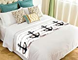 NNBZ Custom Anchor On Faux Wood Bed Runner Cotton Bedding Scarf Bedding Decor 20x95 inches