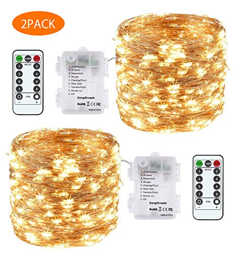 DeepDream 66ft 200 LEDs Fairy Light Battery Powered String Lights Copper Wire 8 Modes Twinkle, Remote Control with Timer… 1
