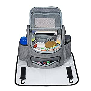 Diaper Bag Backpack, Mom Bag, Large Capacity Baby Bag, ABC life Nursing Bag with Large Changing Mat & Stroller Straps – Multi Function, Convenient & Comfortable, Insulated Pockets, Wet Pouch.