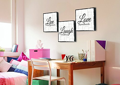 Live Laugh Love Print Decor (x 3 Panels White and Black)