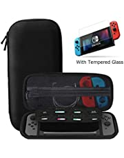 Ztotop Case for Nintendo Switch with Tempered Glass Screen Protector, Protective Hard Shell Travel Carrying Case Pouch with 8 Game Cartridges for Switch Console & Accessories, Black