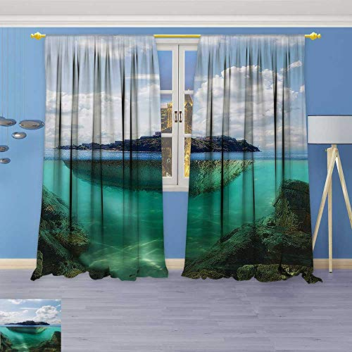Clear Crystal Astoria (Print Woven Sateen Window Curtain,Decor Floating Rock and Lighthouse in Crystal Clear Atlantic Water Mist Nature Photo Panel Pair with Grommet Top)