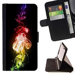 Momo Phone Case / Flip Funda de Cuero Case Cover - Llama Fuego Bling Colores neón Humo Arte - Huawei Ascend P8 Lite (Not for Normal P8)