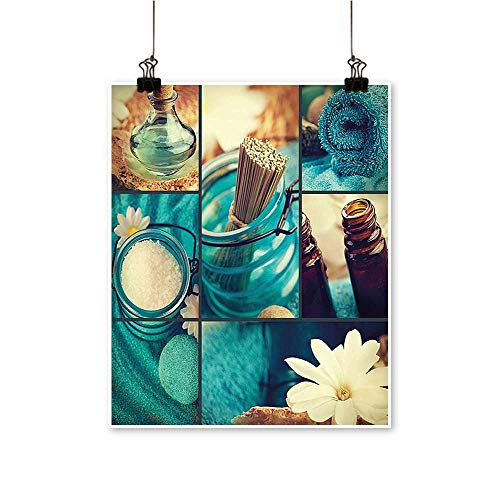 Artwork for Office DecorationsBlue Themed White Daisies Scents Towels and Incense Artwork Collage Blue Brown and Canvas Living Room,20