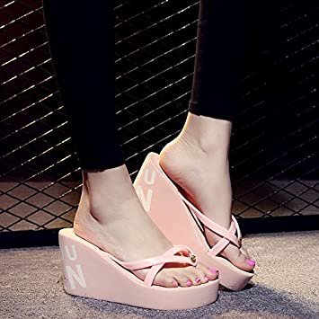 XIAMUO Sommer high-heeled Flip-Flops mit dicken Sohlen Plattform Keile wasserdicht Hausschuhe Sandalen 34 Krone 9 cm hellrosa