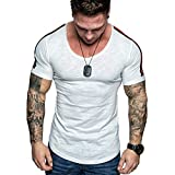 aiNMkm Basic T Shirt Toddler,Summer Men's FashionCasual Solid Color Panel Short Sleeve T-Shirt Top Blouse,White,XL