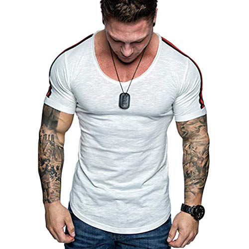 - Men's Muscle Tank Top Casual Cotton Solid Tagless Sleeveless Sports Workout Bodybuilding Fitness X-Temp Vest Singlet Jersey T-Shirt White