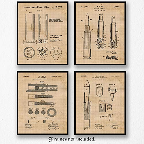 Vintage Gun Cartridge Bullet Patent Poster Prints, Set of 4 (8×10) Unframed Photos, Wall Art Decor Gifts Under 20 for Home, Office, Man Cave, College Student, Teacher, Veterans, NRA and Movies Fan