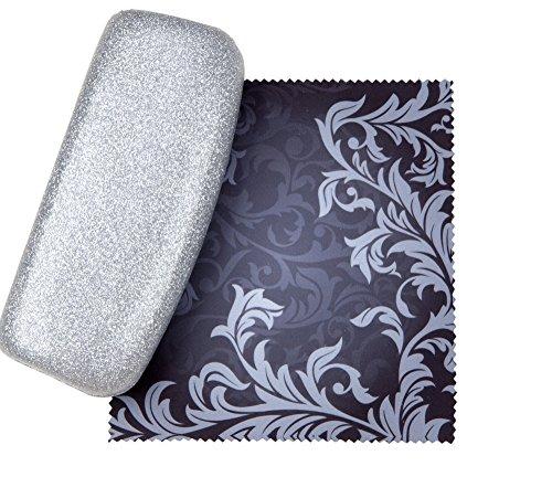 - Silver Medium Premium Fashion Women's Hard Eyeglasses Case By Spunky Soul | Glitter Silver | Bonus Cleaning Cloth