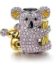 NINAQUEEN® Charm - Koala Argento Sterling 925 Zirconia, Regalo per Lei, con Confezione di Scatola Regalo, per Regali di Compleanno Anniversario