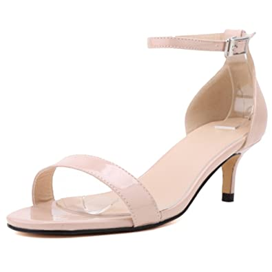 2f91fb44ad0 YAOYUE Low Mid Heels Kitten Sandals Perfect Height Comfortable Peep Toe  Ankle Strap Casual Wedding Shoes Patent Leather for Women Laydies