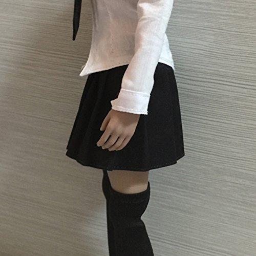 en Pices Pouces Noire 2 Poupe 12 pour et Femme Vtements Robe Tissu Figurine MagiDeal 1 Courte Jupe 6 Echelle Rouge HCnxwPFx