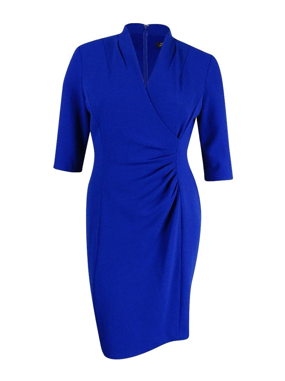 Tahari by ASL Womens Side Ruche Crepe Sheath Dress