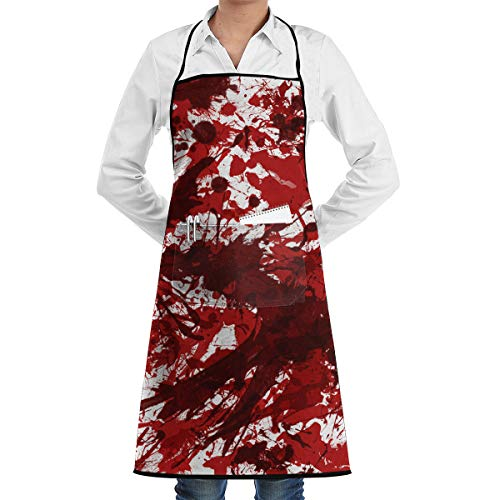 Lao Yang Mai Halloween Scary Bloody Handprint Footprint BBQ Waiter Housekeeper Pet Grooming Bartender Kitchen Beautician Hairstylist Nail Salon Carpenter Shoeing Wood Painting Artist Pocket Apron -
