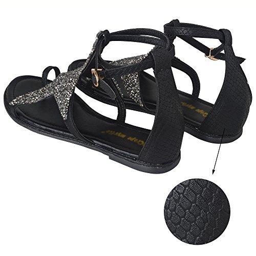 Shoes Women Rhinestone Bling Crystal Ankel Star Strap Yaheeda Slingback Sandals Strap Flat Roman Casual Gladiator xqftnIwPI5