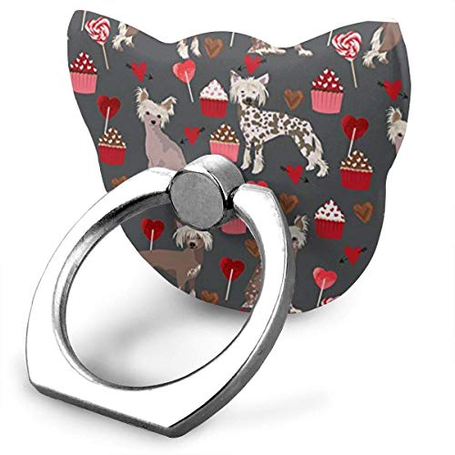 Chinese Crested Dog Valentines Cupcakes Finger Ring Holder, Universal Cell Phone Ring Grip Stand Support for iPhone Android Phone