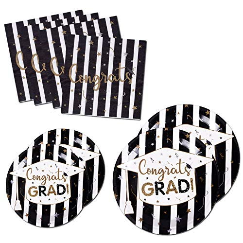 200PCS Graduation Party Supplies Paper Plates and Napkins Bulk for 50 Guests Dessert Round Disposable Plates Black Gold Tableware Set (for Graduation)