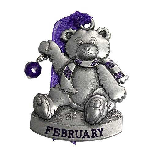 - Gloria Duchin Birthstone Bear - February Christmas Ornament, Silver and Red