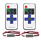 RGBZONE 2 Pack RF Mini Controller with 11-Key RF Wireless Remote Controller for 3528 5050 LED Strip Light (2pin Wire Connector)