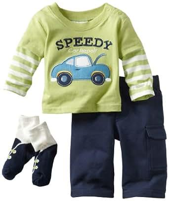 Babyworks Baby-Boys Newborn Speedy Car Repair Accessory Pant Set, Navy, 3-6 Months