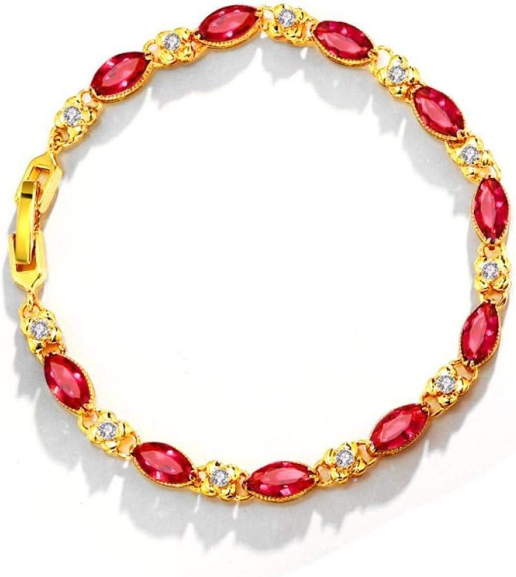 SHUX Pulsera Pulsera de Piedras Preciosas Pulsera chapada en fábrica Pulsera de Color Pulsera Femenina Xl7004, Rojo rubí