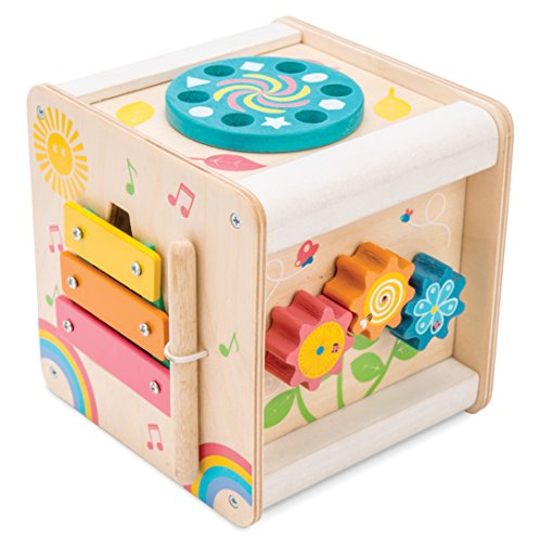 Le Toy Van - Wooden Educational Multi-Sensory Activity Cube with Spinning Wheel | Petilou Range Wood Baby Toy | Suitable for Boy Or Girl 1 Year Old +