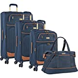 Tommy Bahama Mojito Twist 4 Piece Expandable Spinner Luggage Set (Navy)