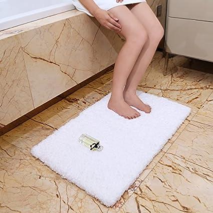Amazon.com: KMAT 20x32 Inch White Bath Mat Soft Shaggy Bathroom Rugs ...
