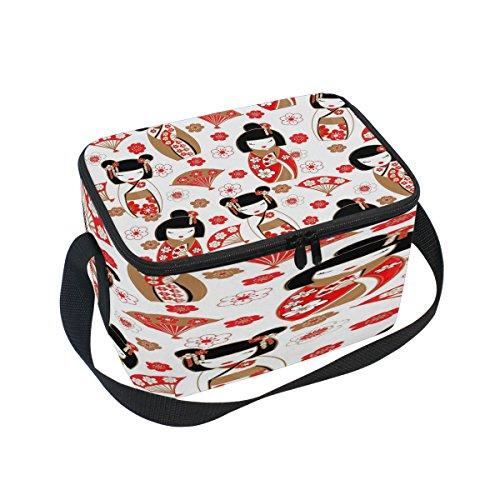 - Use4 Japanese Doll Women Sakura Cherry Blossom Fan Insulated Lunch Bag Tote Bag Cooler Lunchbox for Picnic School Women Men Kids