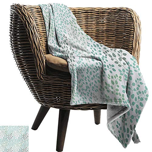 BelleAckerman Cool Blanket,Leaf,Pattern with Leaf Branches Silhouette Nature Theme Foliage Forest,Sage Green Turquoise White,for Bed & Couch Sofa Easy Care 60