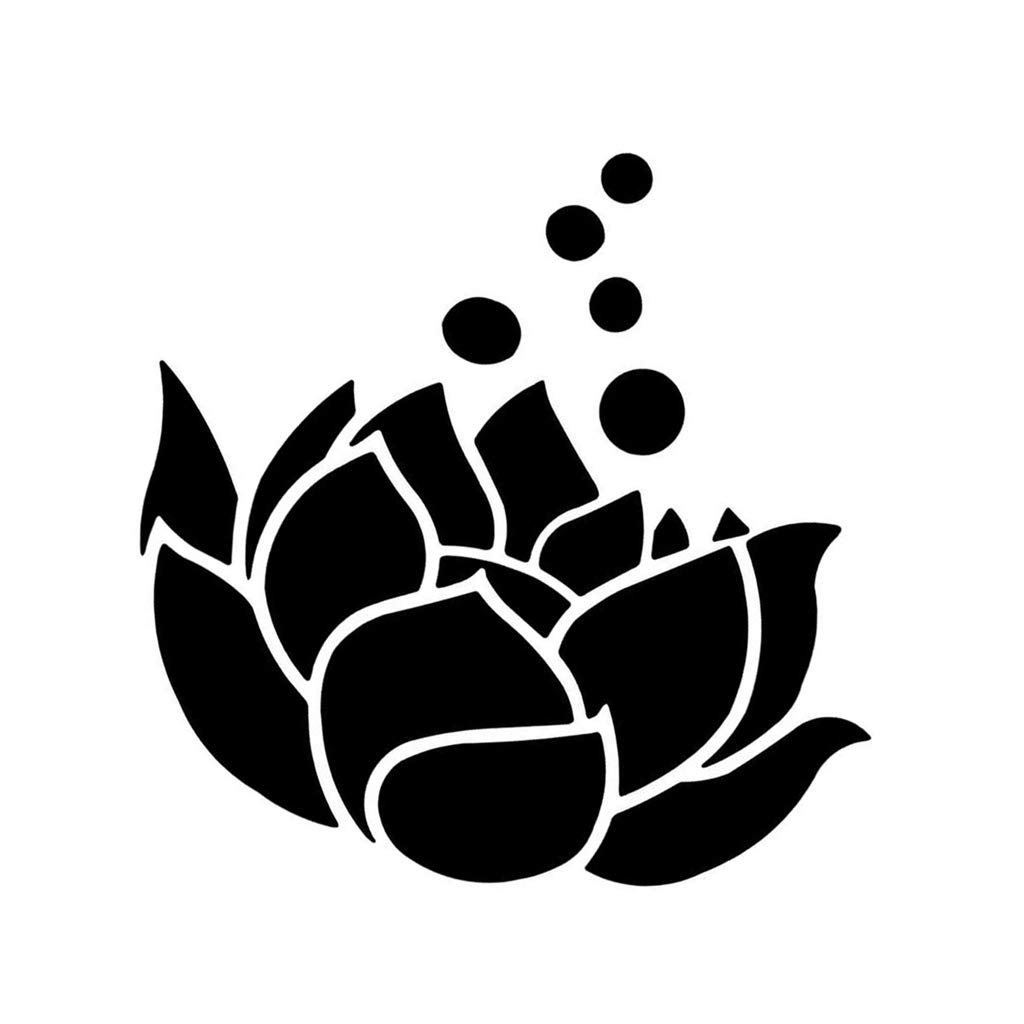 Potelin Premium Quality Lotus Flower Vinyl Sticker Decal for Cars Trucks Computers Notebooks etc 3 inch Black
