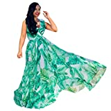 Ruffle Dresses for Women Sleeveless Stylish Chiffon with Belt V-Neck Printed Floral Maxi Dress (Green,S)