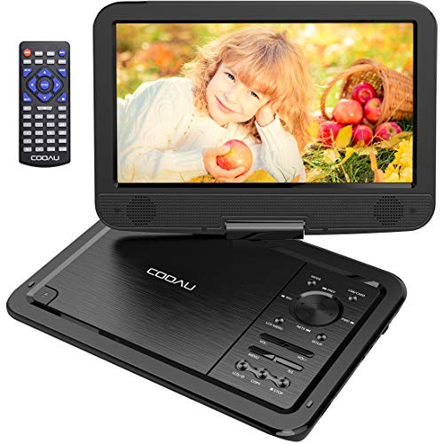 COOAU 12.5 Portable DVD Player with 10.5 Swivel Screen, 5 Hours Rechargeable Battery, Support USB and SD Card Direct Play, Memory Playing, Loop Playing, Region Free, Black