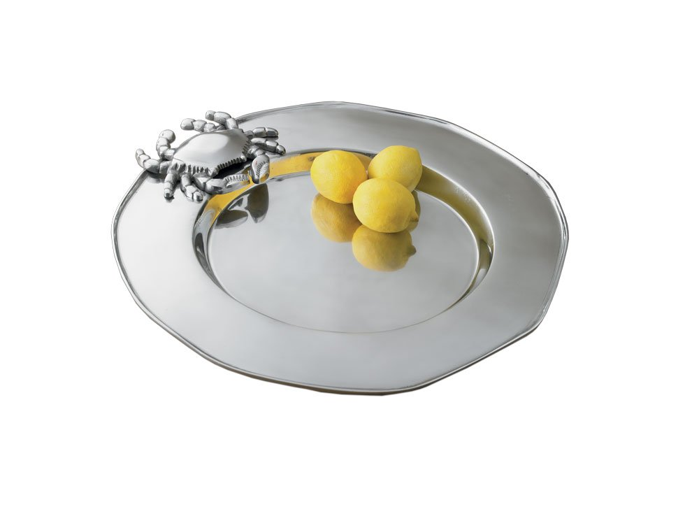 Coastal Christmas Tablescape Décor - World Decor silver aluminum round crab serving tray
