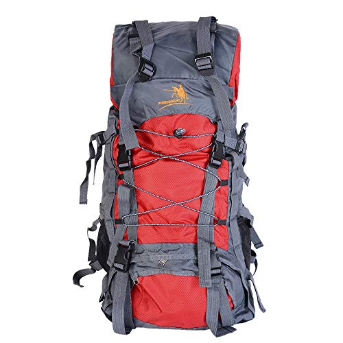 Trekking Backpack 60L Waterproof Hiking Backpack Large Capacity Internal Frame Backpack for Traveling, Camping, Climbing (Red) (Best Internal Frame Backpack For Traveling)