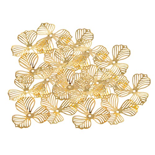 SM SunniMix Fashion 20Pcs Gold Metal Crafts Connectors Metal Filigree Flowers Slice Charms Jewelry Making DIY Accessories