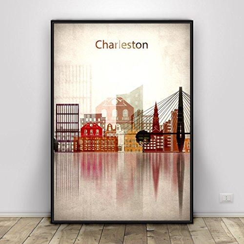 Charleston Print, South Carolina, Charleston Skyline, Charleston Poster, South Carolina Art, City prints, Home Decor, Fine Art, Unframed print