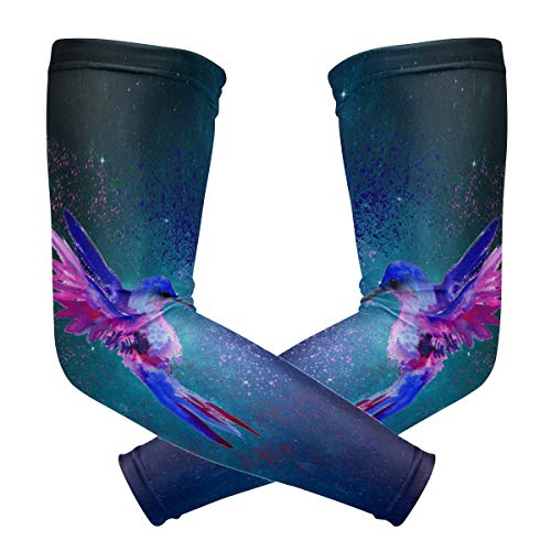 Fly teenager Sport Skin Arm Sleeve Watercolor Hummingbird Cooling Sleeves UV Cover Sun Protective Stretch Armband