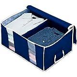 アストロ 衣類収納ケース 不織布製 仕切り・取っ手付き 紺色 通気性に優れた生地で、衣類を大切に保管します! 192-01