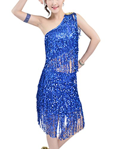 [Whitewed Fringe Ladies Ballroom Latin Salsa Dance Team Competition Costume Blue] (Dance Team Costumes Competition)