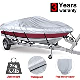 RVMasking Trailerable Full Size Boat Cover Lightweight & Waterproof for 17'-19'L V-Hull Runabouts Outboards and I/O Bass Boats, Free Motor Cover