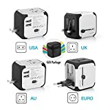Universal Travel Adapter,All-in-one Worldwide Travel Chargers Adapters for US UK AU EU with Dual USB Charging Ports Universal AC Socket - Safety Fused(Silver)
