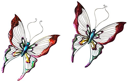Large Butterfly Nature Inspired Colorful Metal Iron Garden Decor Wall Yard Art Sculptures For Indoor Outdoor Set of 2 (23