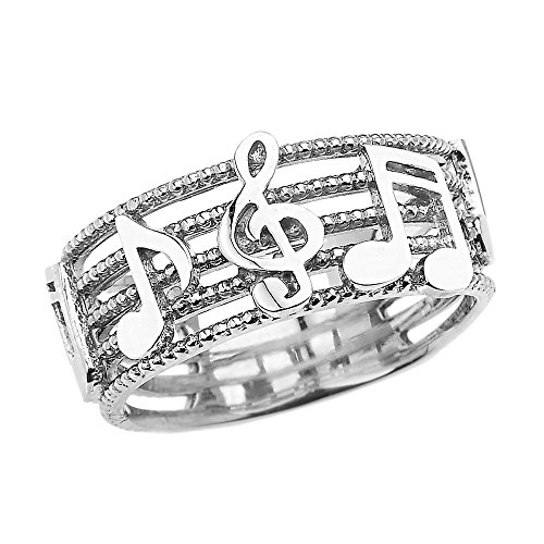 Sterling Silver Treble Clef with Musical Notes Band Ring(Size 7)