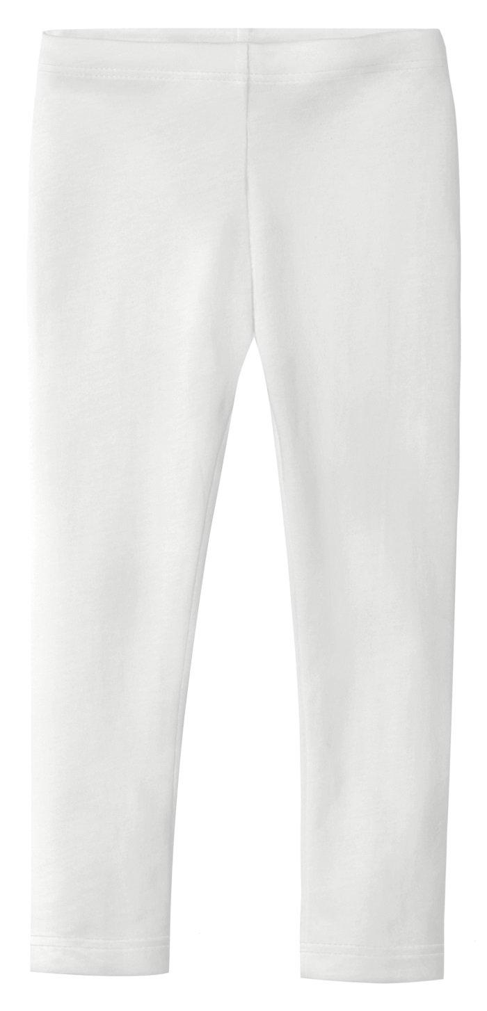 City Threads Big Girls' Organic Cotton Leggings Solid For Under Skirts and Dresses SPD Sensory Friendly For Sensitive Skin, White, 8