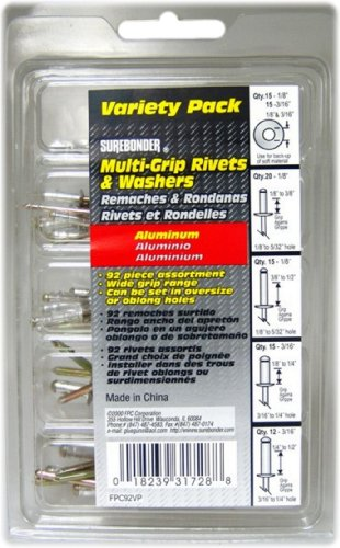 Surebonder FPC92VP Aluminum Multi-Grip Rivets, 92-Piece - Blind Hole Rivets